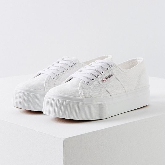 f650cc6317dc Superga White Platform Canvas Sneakers. M 5b3979cdc2e9fe3e39f8e73d